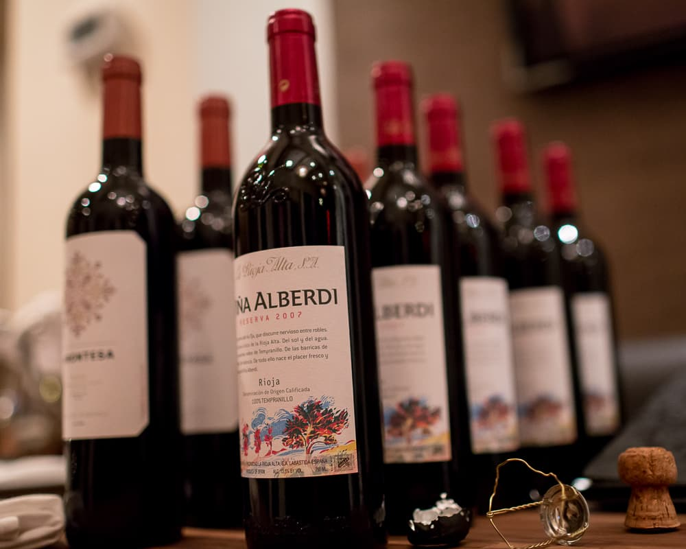 Bottles of Viña Alberdi and La Montesa